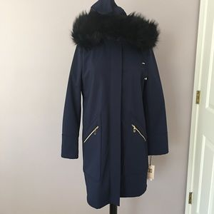 NWT Ivanka Trump Navy Lined All Weather Coat Large